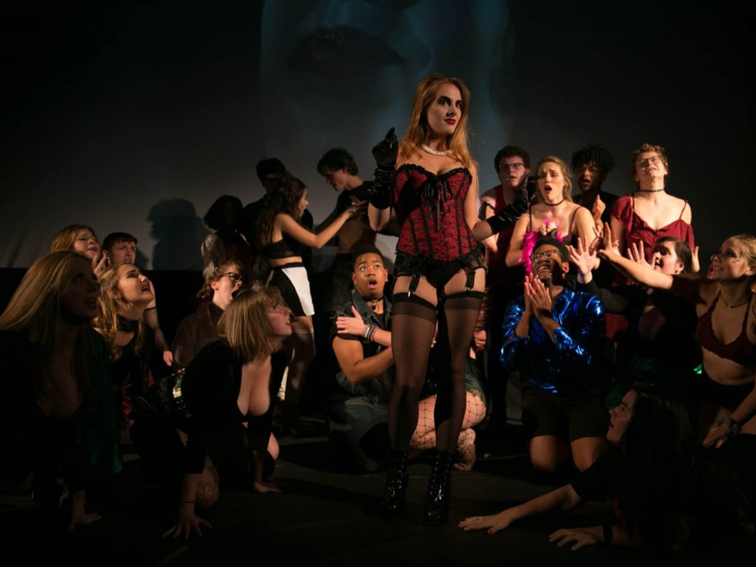 Pauper Players rehearse for the Rocky Horror Picture Show in Varsity Theatre on Tuesday, Oct. 23, 2018.