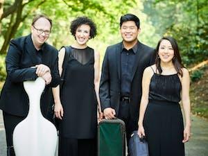 The Verona Quartet poses with their instruments. Photo courtesy of Kaupo Kikkas.