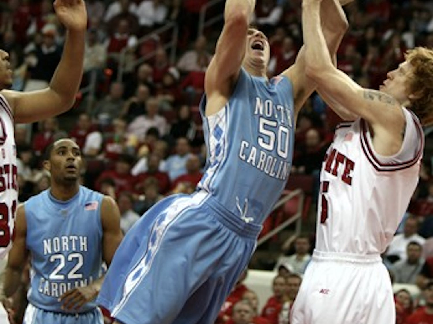 North Carolina's Tyler Hansbrough played 37 minutes in the Tar Heels' 84-70 victory against N.C. State on Wednesday night at the RBC Center.