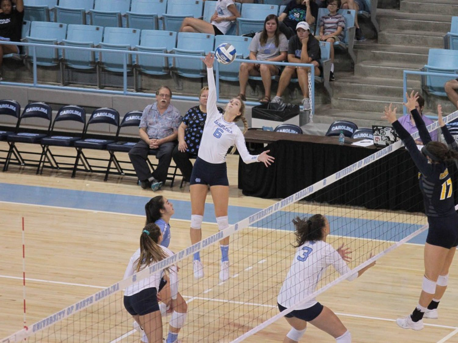 UNC outside hitter Skylar Wine (6) spikes against UNC-Greensboro Friday, Aug. 31 in Carmichael Arena.