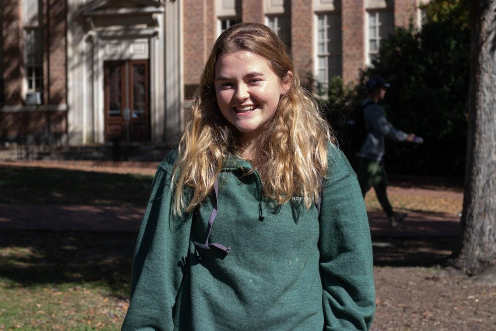 <p>Sophomore economics and human development double major Sarah Ward discusses why PHIL 164 is her favorite class outside of her major on Monday, Nov. 4, 2019. Ward says it was interesting to talk about real-world issues as well as the ethical issues surrounding them.</p>