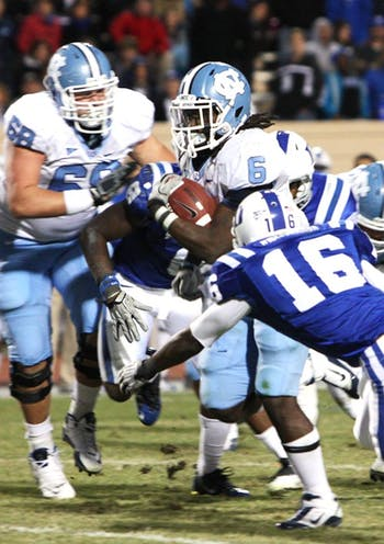 Tailback Anthony Elzy waited his entire career for the game he had against Duke. During the past three games, Elzy has totaled 531 all-purpose yards for the Tar Heels.