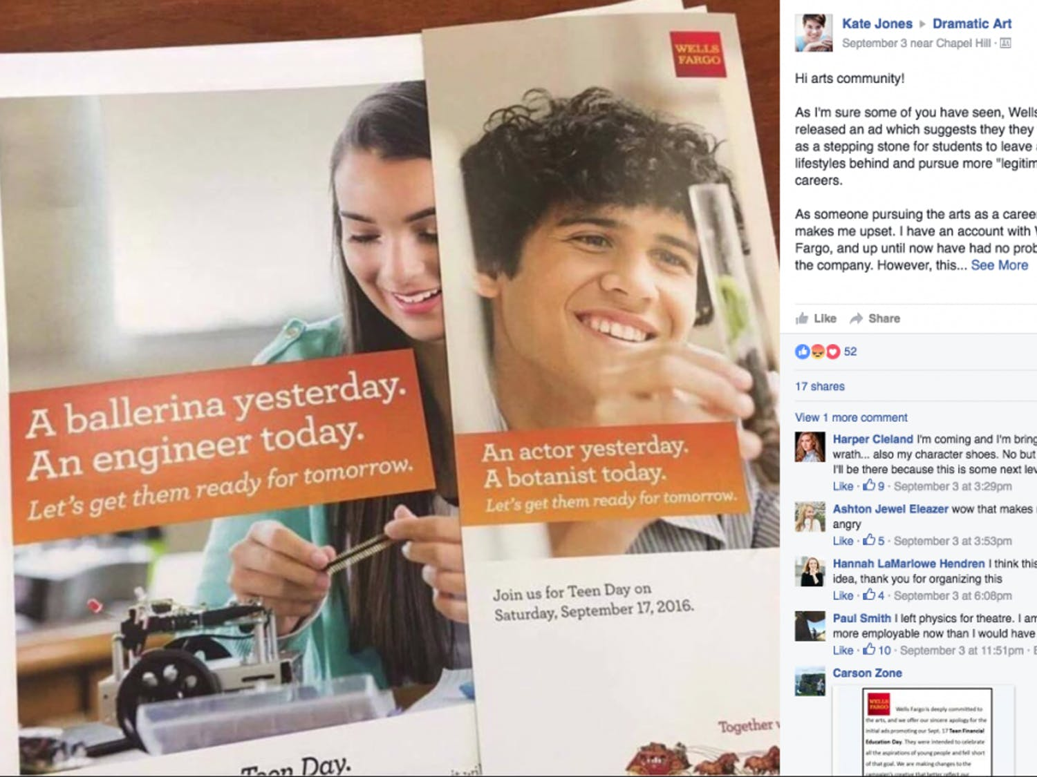 The ads that Wells Fargo ran. They have sinceapologized for the ad campaign.