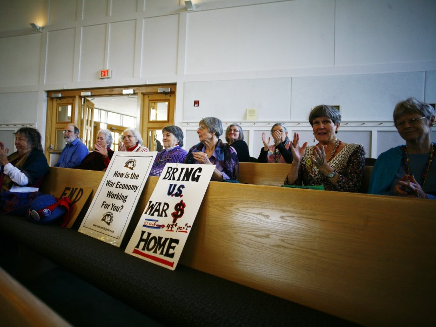 """The Raging Grannies of Chapel Hill held a peace talk event called """"Bring Our War Dollars Home"""" at the United Church of Christ of Chapel Hill on Saturday morning. More than a dozen community leaders spoke to the crowd, including Chapel Hill Mayor Mark Kleinschmidt, Representative David Price, N.C. Senator Ellie Kinnaird and UNC student Zaina Alsous.The Raging Grannies clapped during and after every speaker and wore peace paraphernalia."""