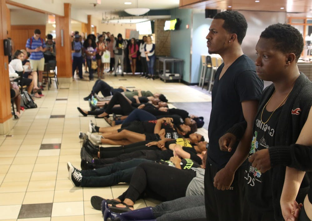 Die-in over police brutality staged at Lenior Dining Hall