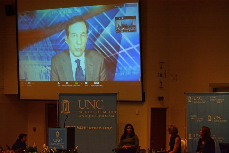 The keynote speaker, Chris Wallace from FOX News, joined the lecture through a video call with the Carroll Auditorium.
