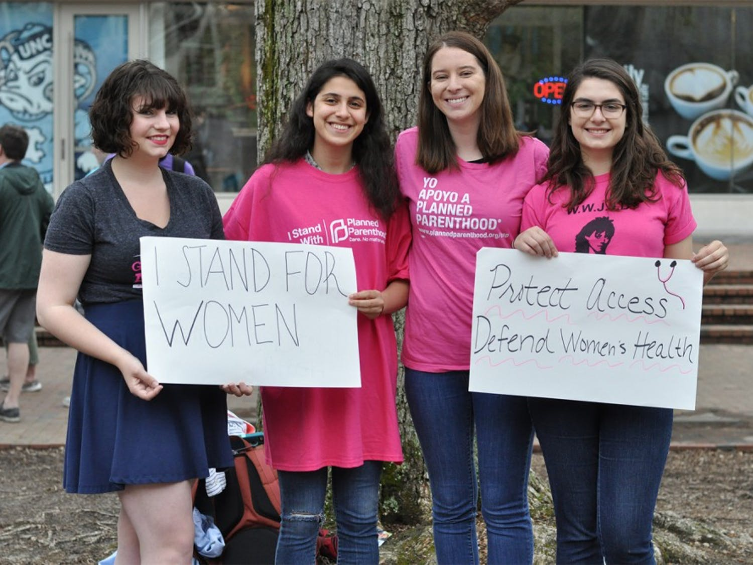 From left to right, Cara Schumann, Ori Hashmonay, Megan Cross, and Emily Goldstein gathered in the pit to rally for abortion rights on Thursday.