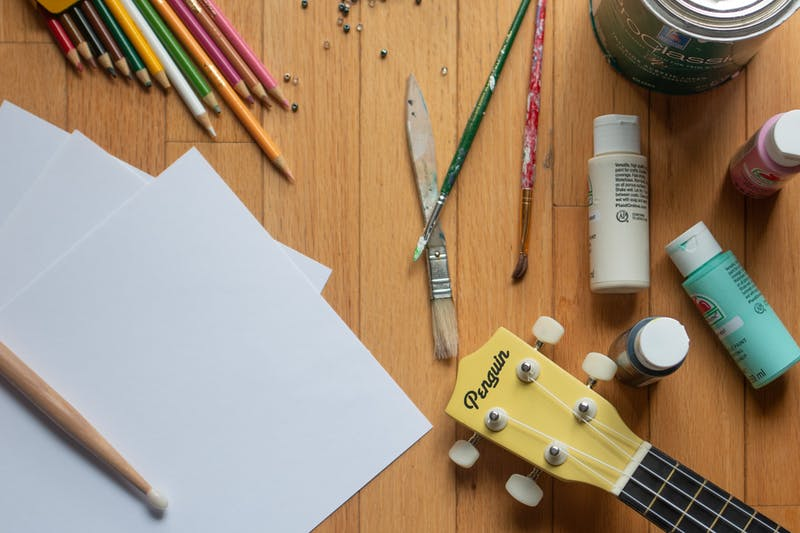 DTH Photo Illustration. Various art supplies and instruments are pictured.