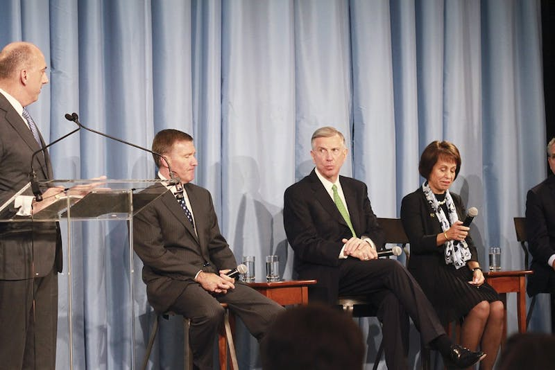 From left to right: Joel Curran, Kenneth Wainstein, Thomas Ross, and Carol Folt take questions from the media following the release of the Wainstein report.  The report details how the Department of African and Afro-American Studies at UNC allowed for its athletes to receive high grades with minimal effort for nearly twenty years.