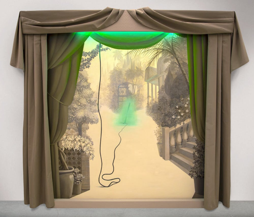 Minoo Emami, Iranian, born 1963, Andaruni, 2021, acrylic on canvas, projected video, fabric, fluorescent light, and wood support, 84 x 120 x 10 inches. Lent by the artist. Photo courtesy of Ariel Fielding.