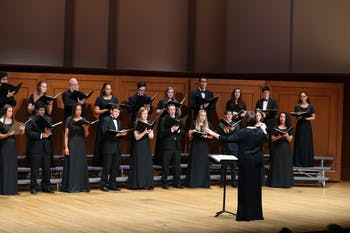 The UNC Chamber Singers conducted by Professor Klebanow at a concert last year. Photo courtesy of Joshua Walker.