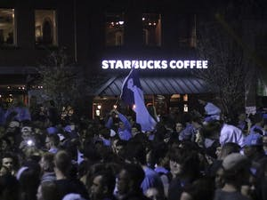 Local businesses benefit from the UNC vs Duke men's basketball games because  of the student rush on Frankin Street after a win.