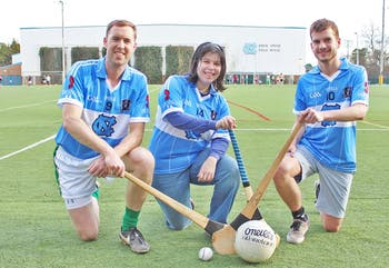 Sarah Holstein, Dara Ó hAnnaidh and Samuel Haddad practice Gaelic Football and Hurling Monday as part of The Irish Sports and Culture Club.