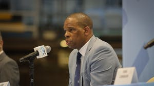 Hubert Davis, the head coach of UNC men's basketball, speaks at a press conference on Tuesday, April 6, 2021.
