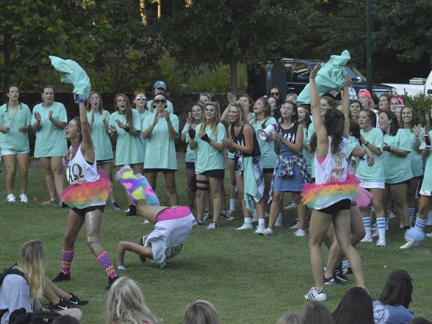 Bid Day was a huge success for all the sororities at UNC Wednesday evening.  After rushees gathered in the Bell Tower Amphitheatre, Gamma Chis revealed their sorority affiliations before the girls read their bids.