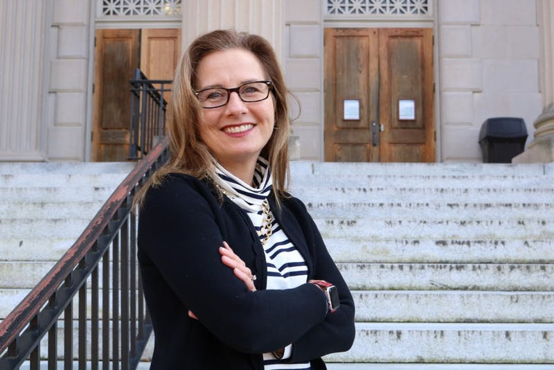 Erin Malloy poses in front of Wilson Library on Tuesday, Jan. 8, 2019. Malloy is the lead principal investigator for the National Science Foundation Grant. The grant is aimed to encourage women and women of color to succeed in STEM fields.