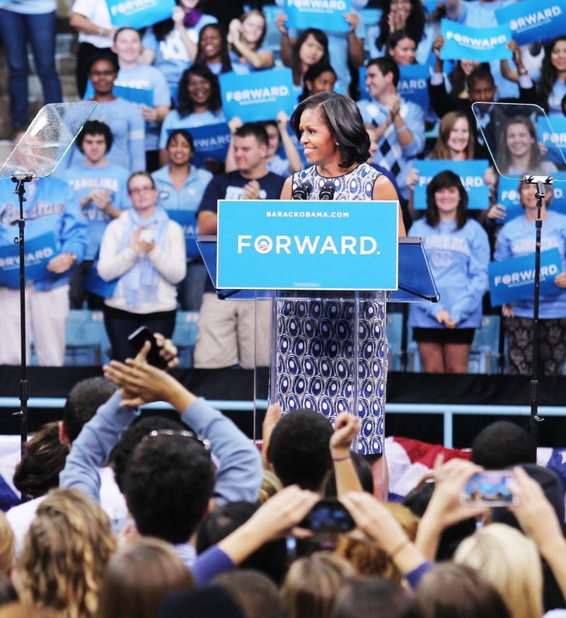 Michelle Obama spoke to students and grassroots supporters in Carmichael Arena on Tuesday afternoon.