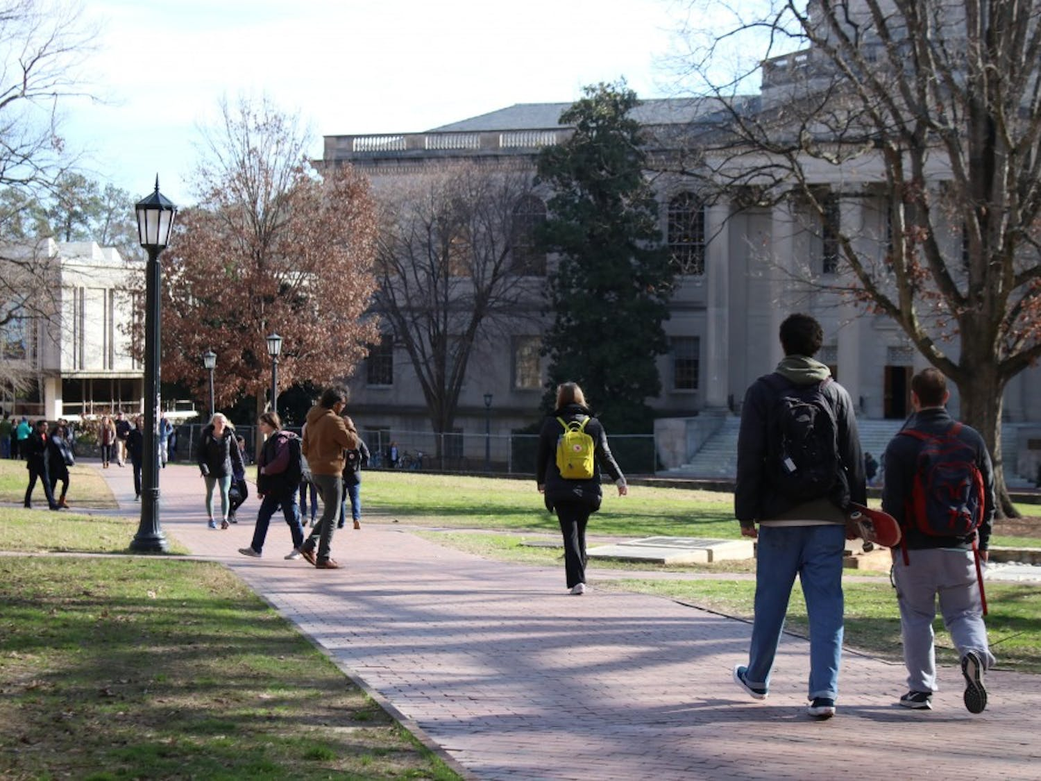 UNC students resume class as normal; the main quad is routinely crowded on Jan. 10, 2019 during the first week of class.