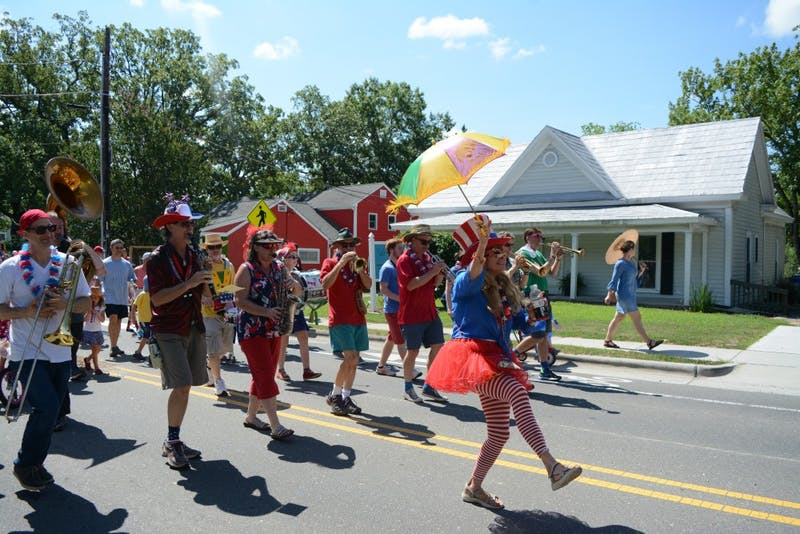 The parade festivities were led by the Bulltown Strutters, a brass parade band from Durham.