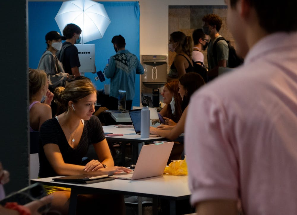 Students study in the student union on the first day of classes, Aug. 18.