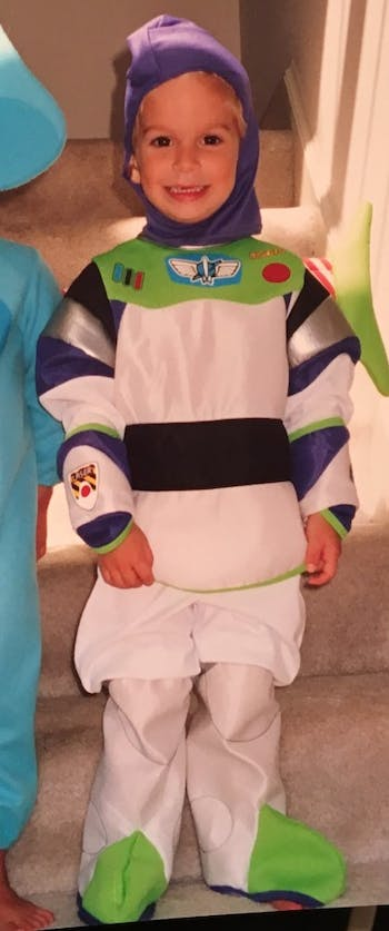 <p>Jack Skahan dressed up as Buzz Lightyear as a child. Photo courtesy of Karen Skahan.</p>