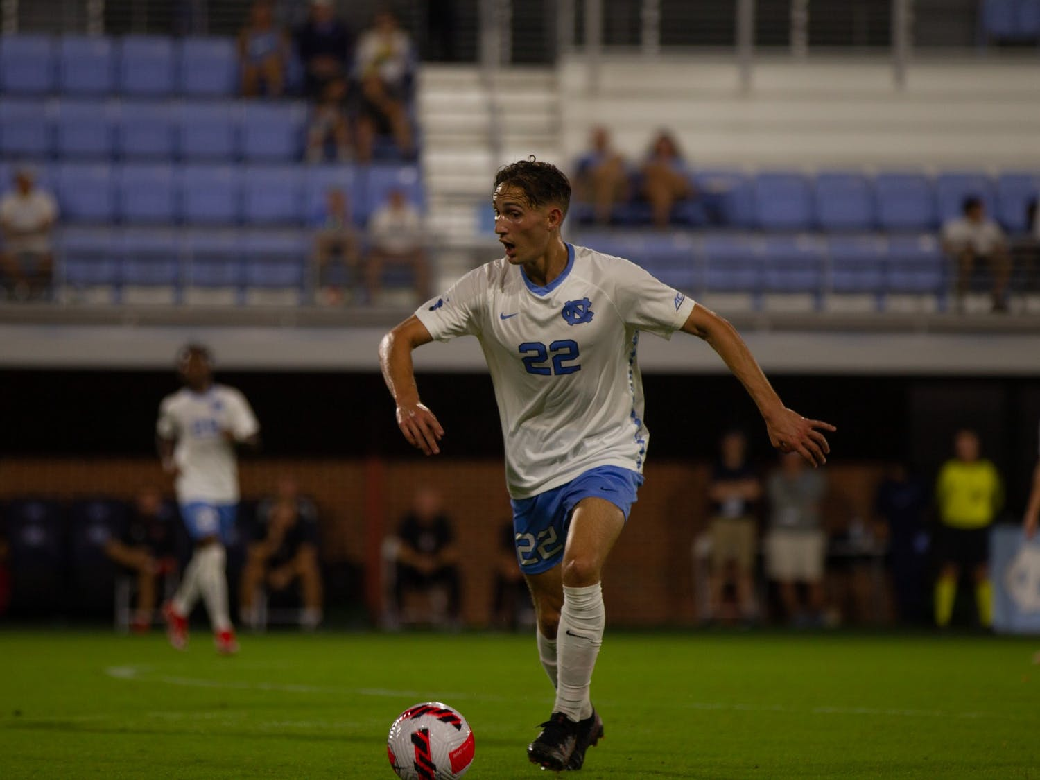 Milo Garvanian (22) prepares to kick the ball at the game against NC State on Oct. 3 at Dorrance Field. UNC won 4-0.