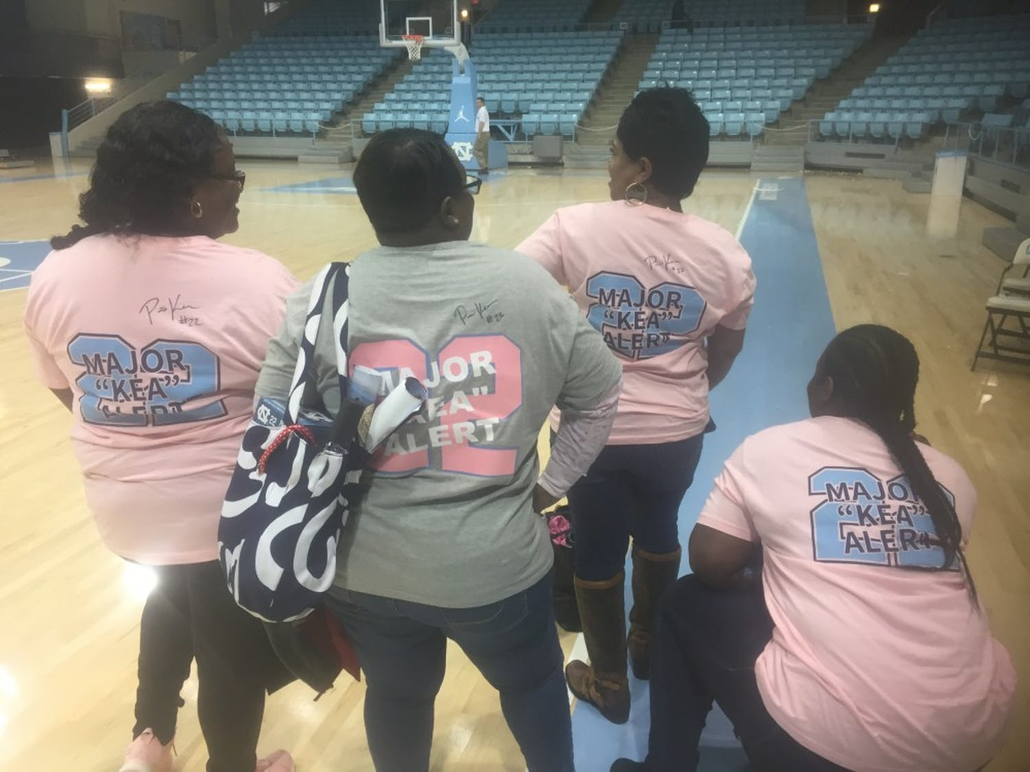 Friends and family of Paris Kea don shirts with her name on it for senior night on Feb. 23, 2019 in a 74-69 loss to No. 9 N.C. State at Carmichael Arena.