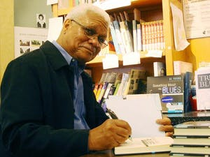 Al Young signs books in the Bull's Head Bookshop