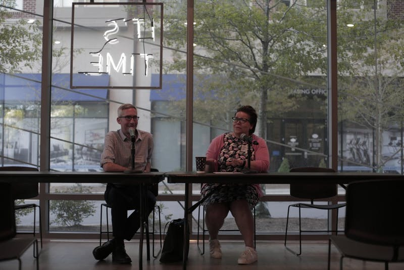 Damon Seils and Allie Thomas lead a panel at the Current Art Gallery on Tuesday, April 16, 2019.