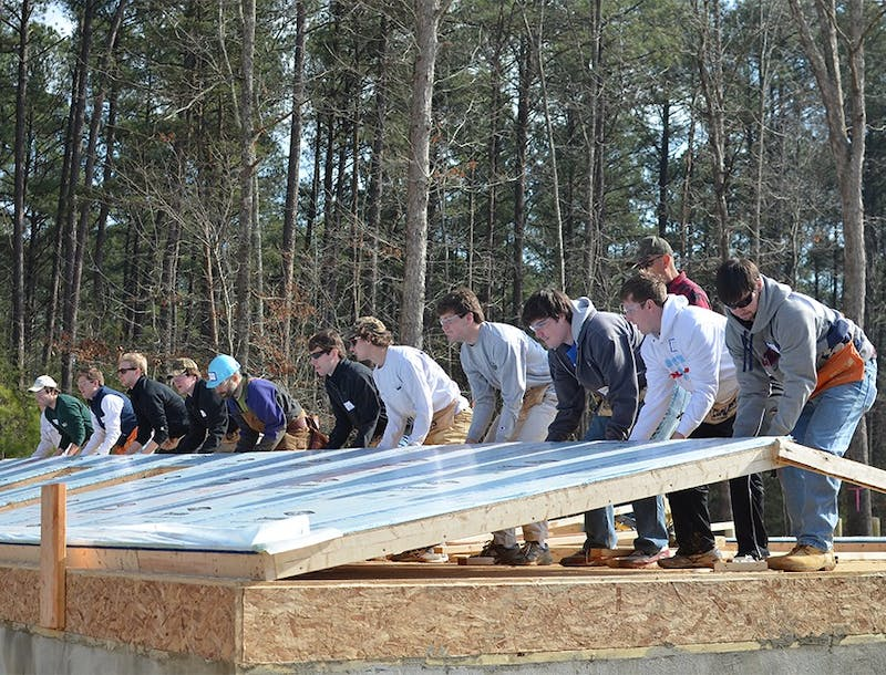Brothers for David, a partnership of several UNC fraternities, work together with Habitat for Humanity to build a house in honor of David Shannon. The house will home a lower-income CH family whose parents work as custodians on UNC's campus.
