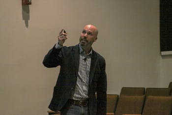 UNC-Chapel Hill alumnus and current associate professor of sociology at James Madison University Dr. Matt Ezzell gives a talk on consent, rape culture, and campus sexual assault for Sexual Assault Awareness Month on April 3 in the Student Union.