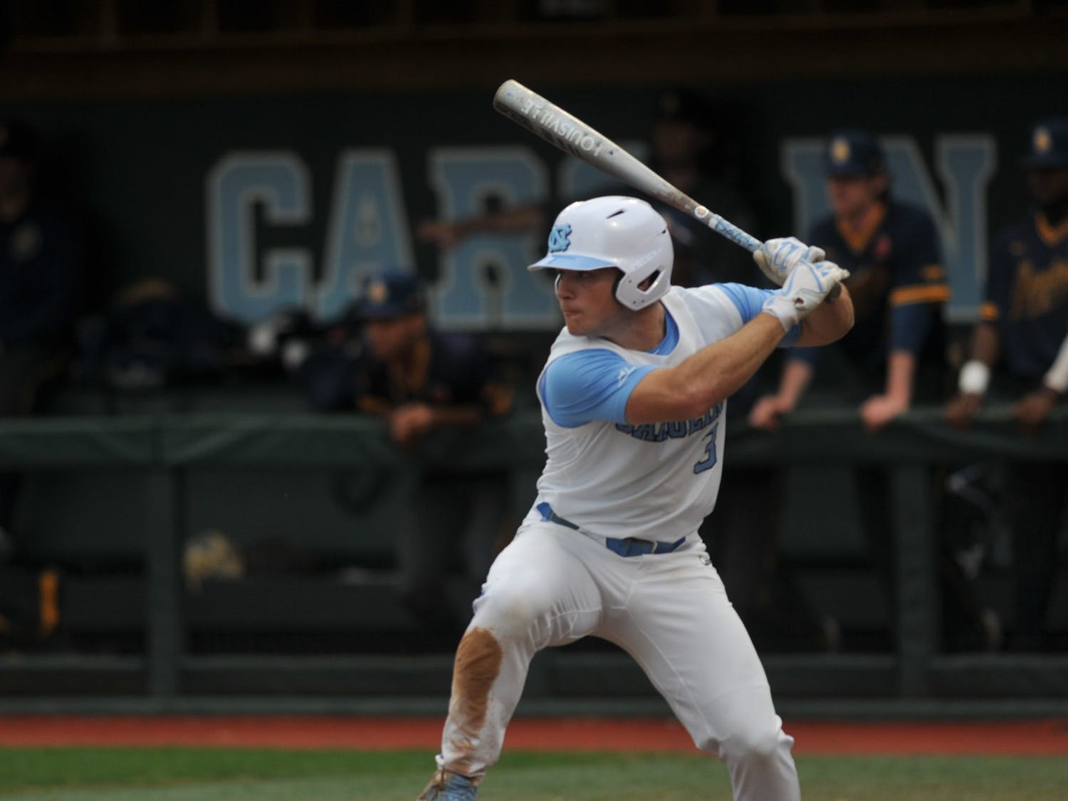 UNC senior Dylan Harris (3) at bat on Tuesday, Feb. 25, 2020 in Boshamer Stadium against NC A&T. UNC beat NC A&T 8-0.