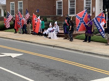 Members of the Ku Klux Klan illegally assembled in front of the Orange County Courthouse on Saturday, Aug. 24 in Hillsborough. Photo courtesy of Graig Meyer.