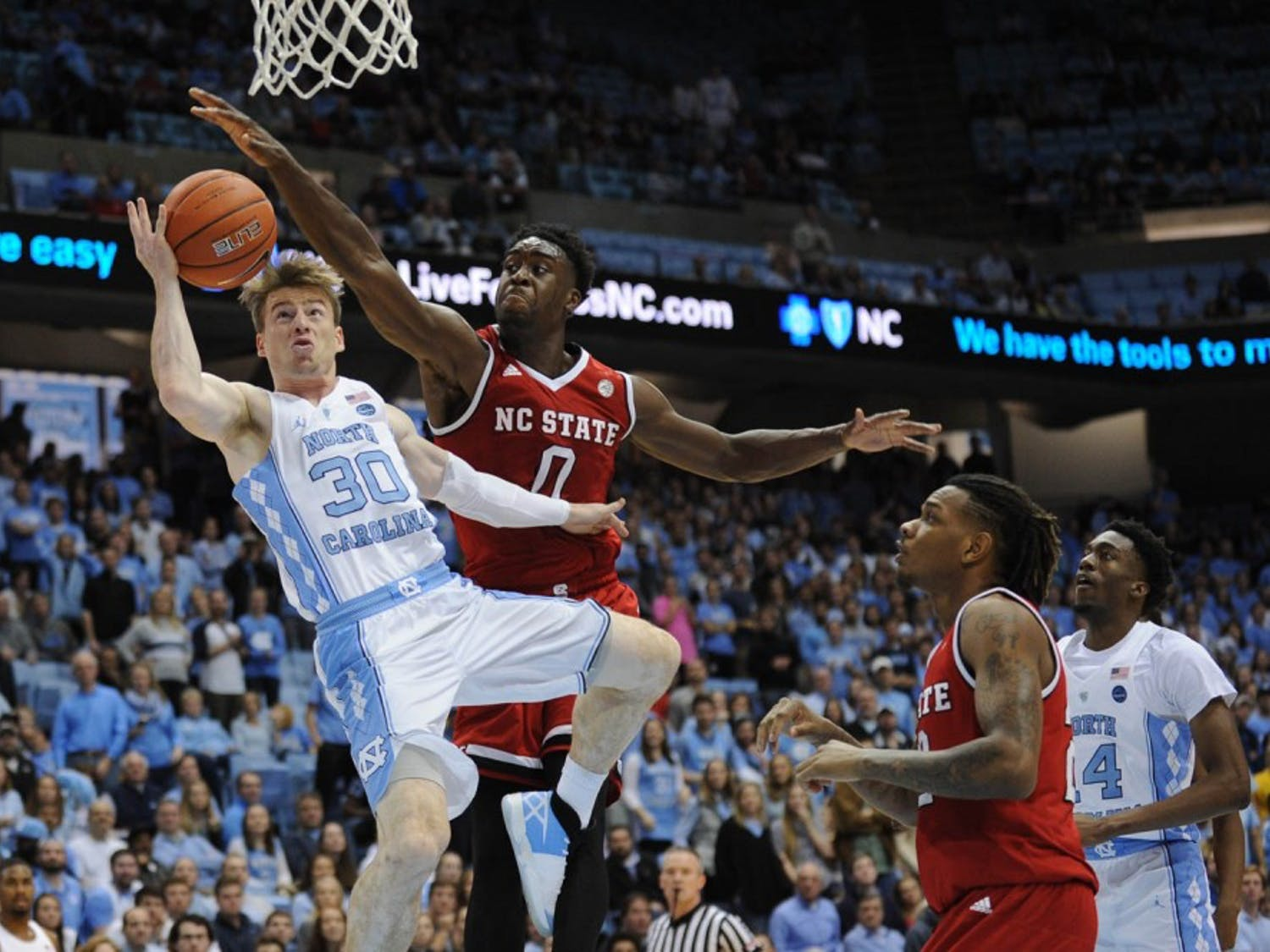 The Tar Heels defeated N.C. State 107-56 Sunday afternoon in the Dean Smith Center.