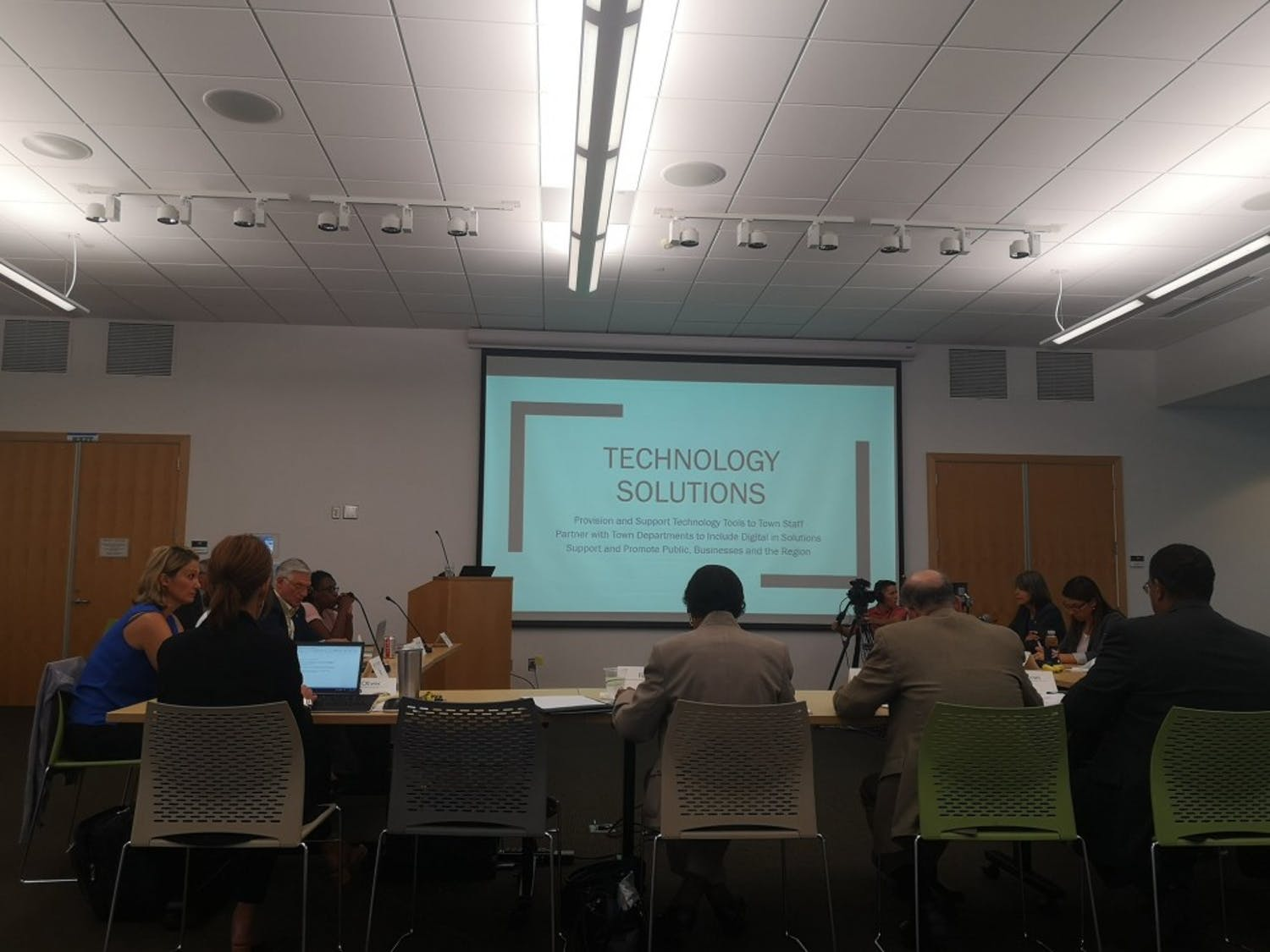 The Chapel Hill Town Council looks at the overview of technology use in areas like security, construction and digital transformation. The council met for a work session on Wednesday, Sept. 18, 2019.