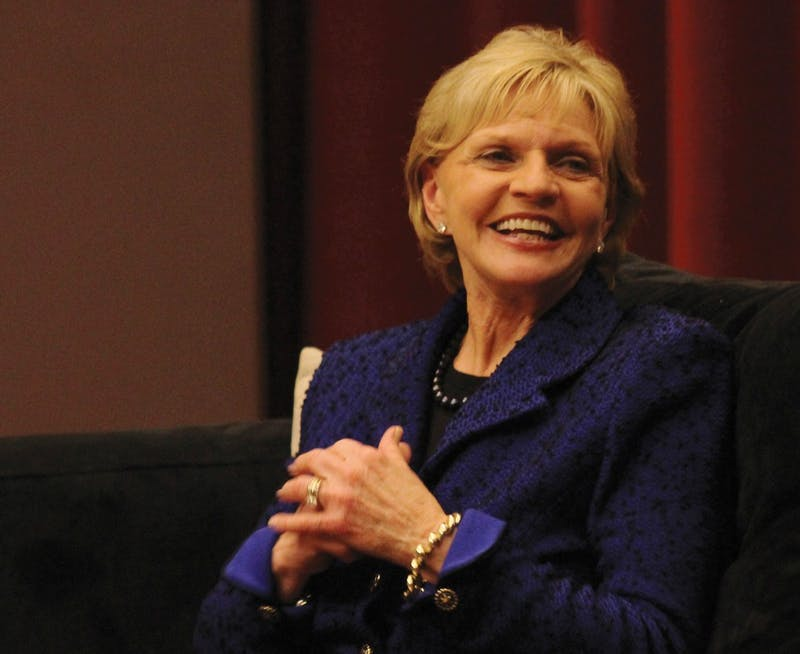 Bev Perdue speaks in the first event of the UNC School of Journalism's Women in the Media Leadership Series.