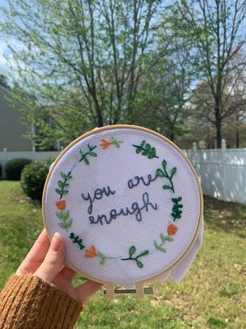 Diana Godoy, a sophomore from Cornelius, N.C., said she now has more time to craft embroidery projects she received in a kit for Christmas during this period of online classes and social distancing. Photo courtesy of Diana Godoy.