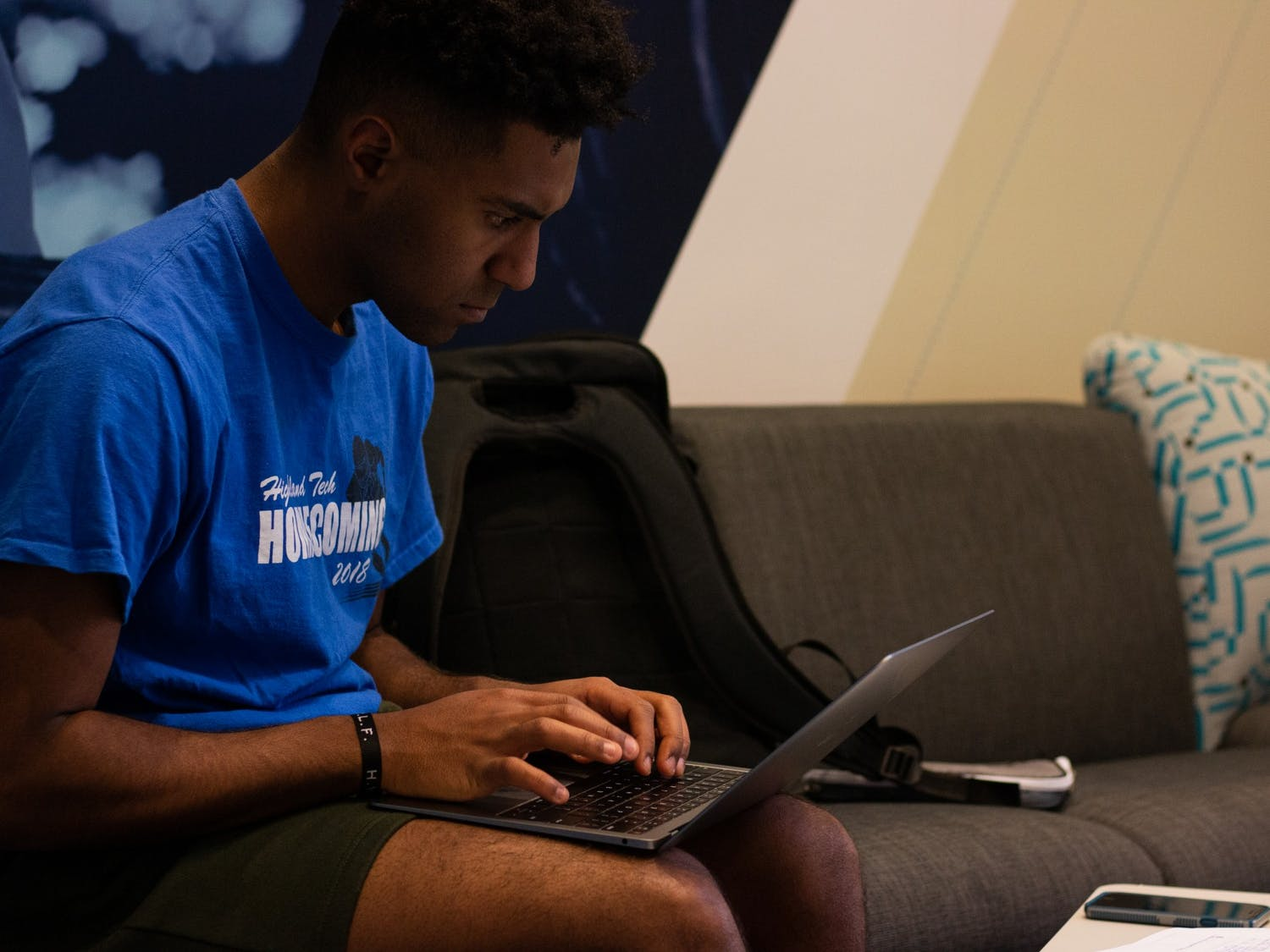 Jovan Sheshbaradaran, a first-year studying business and political science, studies for an upcoming statistics exam in a lounge in Koury residence hall on Nov. 24, 2019.