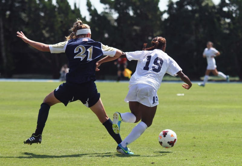 UNC women's soccer versus Norte Dame Irish on Sunday, September 15 at 1:00pm in Chapel Hill.