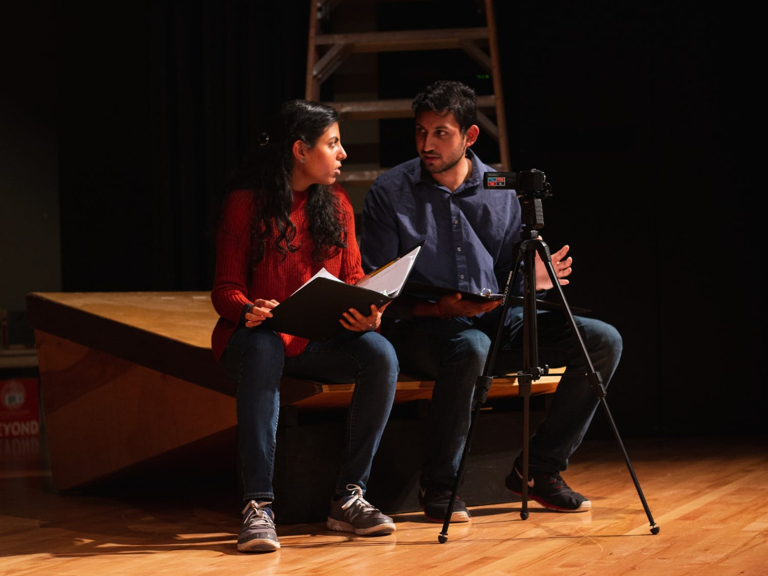 UNC student Mihir Shah and his sister Mansi Shah share a dialogue in his play written for the festival on Tuesday, Nov. 5, 2019 in the Sonja H. Stone Center.
