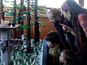 Matt and Bianca Stohrer visit LEGO-Palooza with their children Alma and August Stohrer.