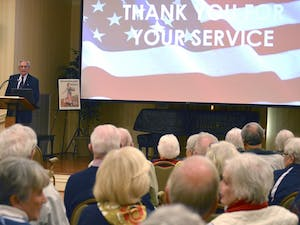 Cedars of Chapel Hill Retirement Home residents are honored for serving in the military on Veterans Day.