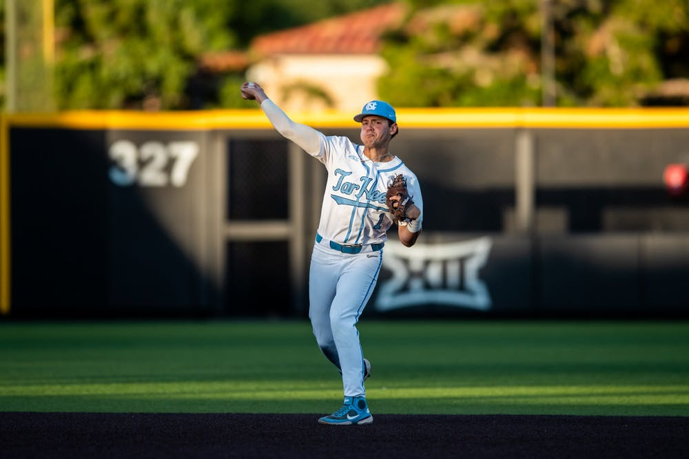 <p>UNC sophomore short stop Danny Serretti (1) throws the ball at the NCAA tournament game against Texas Tech on Saturday June 5, 2021 in Lubbock, TX. The Tar Heels lost 2-7. Photo courtesy of Elise Bressler.&nbsp;</p>