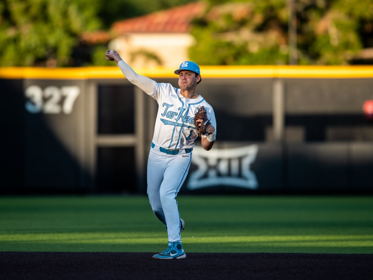 UNC sophomore short stop Danny Serretti (1) throws the ball at the NCAA tournament game against Texas Tech on Saturday June 5, 2021 in Lubbock, TX. The Tar Heels lost 2-7. Photo courtesy of Elise Bressler.