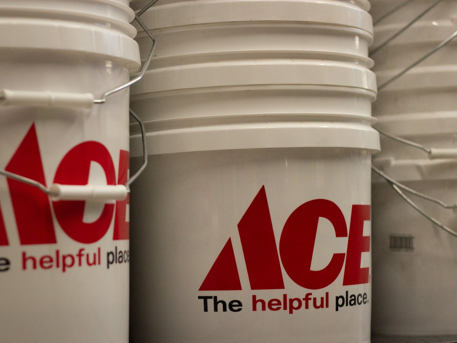 Ace Hardware buckets are pictured at the newly opened store in Chapel Hill, NC on Wednesday, April 7th, 2021.