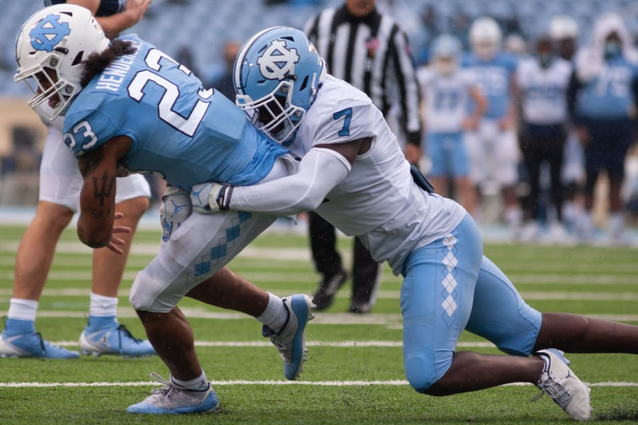 Defensive youth movement stands out in UNC football's spring game