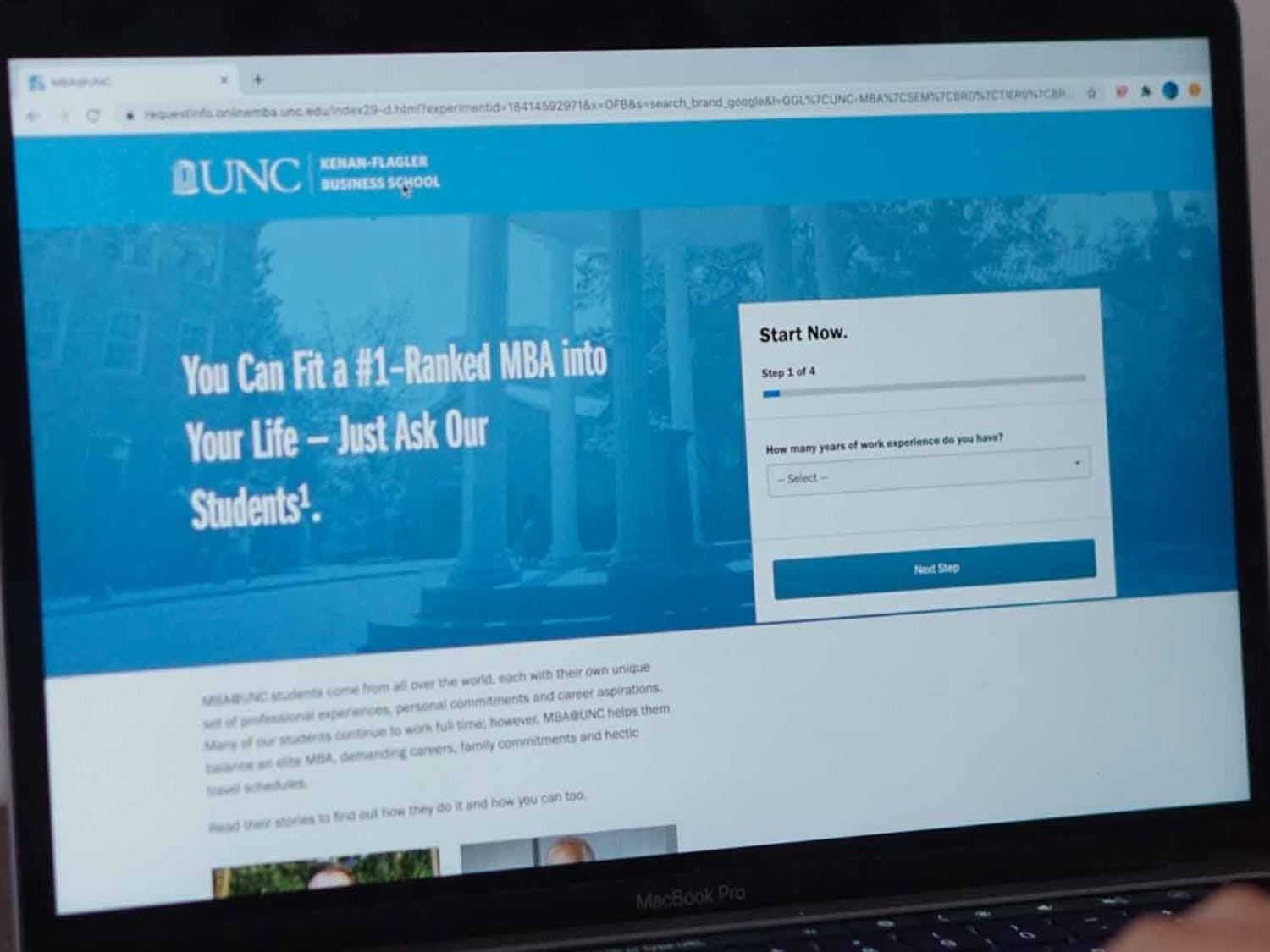 A UNC student examines the Kenan-Flagler Business School application on Sunday, Sept. 8, 2020. Hussman and Kenan-Flagler employees shed light on how the application experience has been impacted by COVID-19.