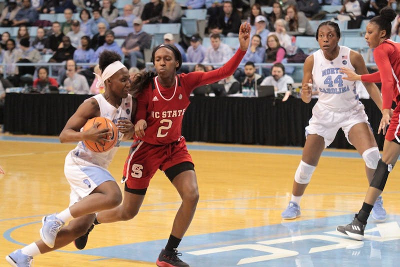 Guard Jamie Cherry (10) drives to the basket against N.C. State on Jan. 18 in Carmichael Arena.