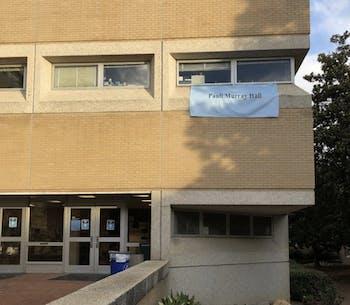 "A temporary banner hangs reading ""Pauli Murray Hall"" on the building originally named Hamilton Hall on Monday, July 13, 2020. Photo courtesy of Lisa Lindsay."