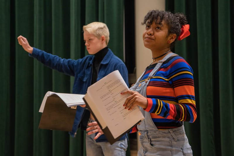 "(From left) First-year Jacob Hester and Junior Kayla Brown ""A Study in Dealmaking"", a sketch by junior Ellie Baker, on Friday, Nov. 1, 2019. UNC's LAB! Theater celebrates New Works November by reading through new sketches every Friday of the month at 7:30 P.M. in the Center for Dramatic Art."